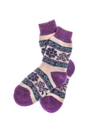 Winter wool socks on a white background. Imagens