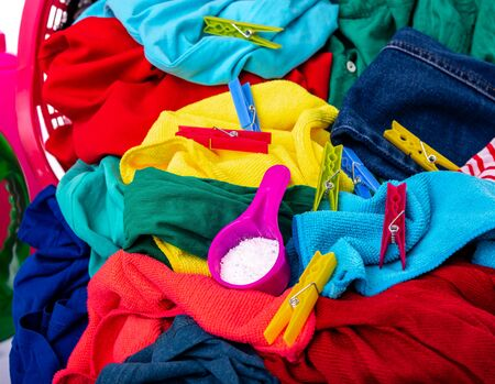 Multi-colored laundry for washing.
