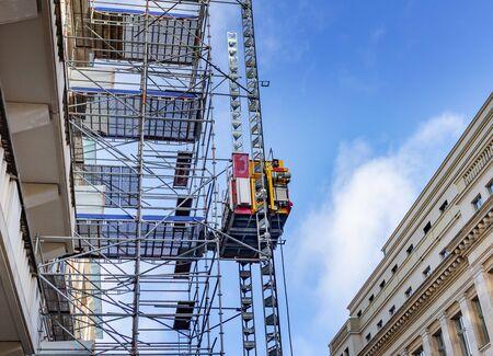 Construction scaffolding on the building. 版權商用圖片