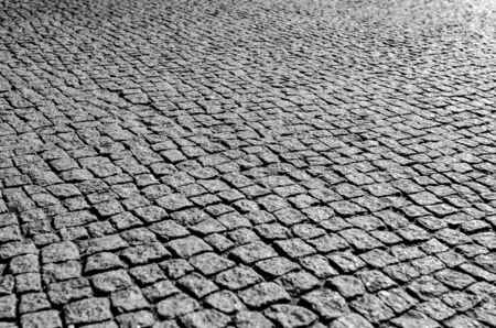 Brick stone street road. Pavement abstract texture.