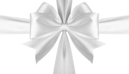 White cross ribbon with bow isolated.