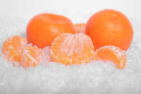 Tangerines in the snow.
