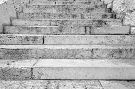 Stone staircase. Gray staircase made of stone or brick