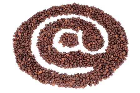 The @ symbol made ​​from coffee beans isolated on white