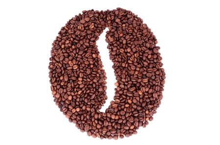 The coffee beans symbol made from coffee beans  isolated on white.