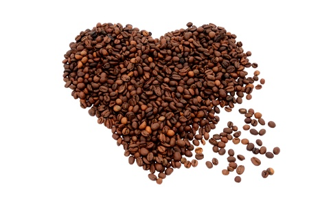 The heart symbol made from coffee beans Stock Photo
