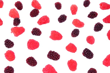 raspberry, blackberry in a bunch isolated on white