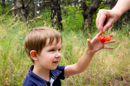 European boy 4-5 years old smiles and takes cherries from hands on a background of grass