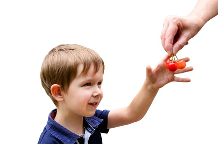 European boy 4-5 years old smiles and takes cherries from hands, images isolated on white