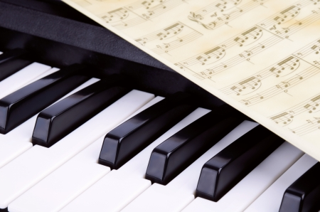 octave, piano keys closeup. sheet with notes lying on top of the piano Stock Photo