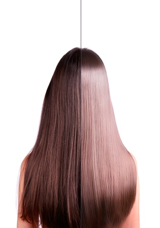 girl with long straight brown hair. rear view. hair straightening, before and after. Image of the two halves. isolated on a white background.