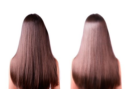 girl with long straight brown hair. rear view. hair straightening, before and after. two images in one photo. isolated on a white background. Stock Photo