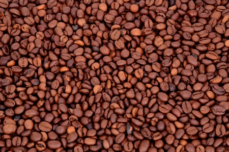 coffee beans on a full background. view from above. Stock Photo - 23068796