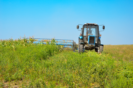 mechanization: Old tractor mowing corn in the field. Green grass, the blue sky, the mower. The mechanization of agriculture. Stock Photo