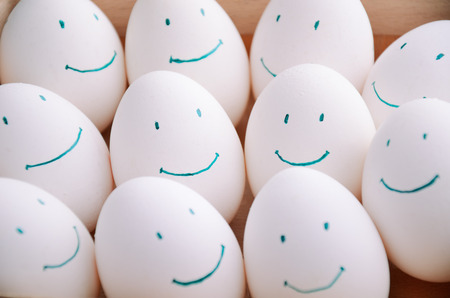 white smile eggs in tray horizontal on the full backgrpound close-up Stock Photo