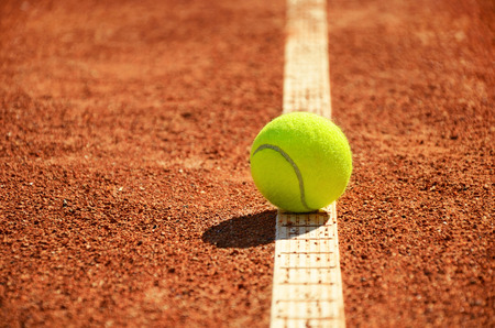 tennis ball is on the markup horizontal  low angle Stock Photo