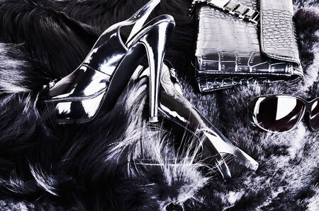 stylish background of shoes, clutches, sunglasses, fur.  black-and-white image in high contrast.horizontal photo
