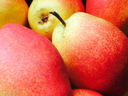 closeup: Red yellow pears close-up full frame