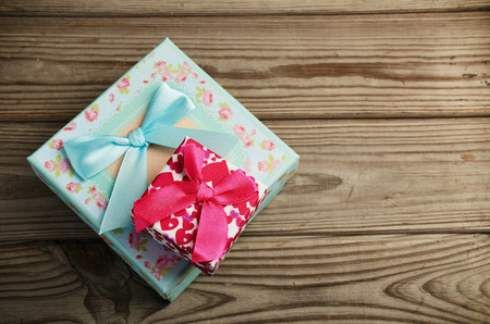 Two gift boxes on a wooden background. horizontal frame Stock Photo