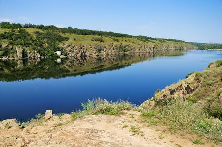 landscape of the Dnieper River and the island of Khortytsya in Ukraine. horizontal
