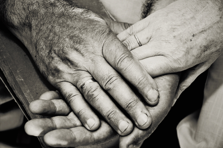 horizontal format: Monochrome image of old married couples hands. horizontal format Stock Photo