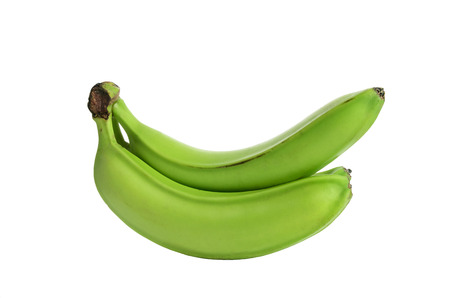 three green bananas isolated on the white background. no shade. horizontal