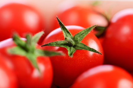horizontal format: cherry tomatoes on the close-up horizontal format Stock Photo