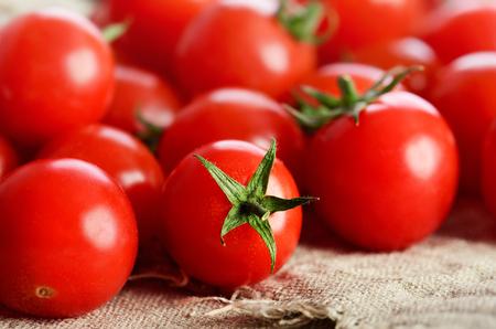 horizontal format: cherry tomatoes on the napkin close-up horizontal format