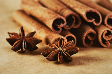 cinnamon sticks and two stars anise on paper background close-up horizontal format