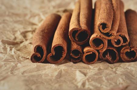 horizontal format: cinnamon sticks on paper horizontal format