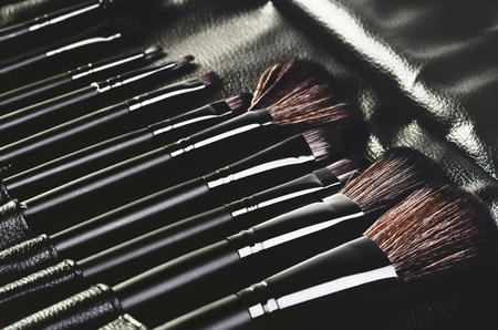 set of brushes for makeup in a black cover placed diagonally in a row. horizontal format, monochrome image