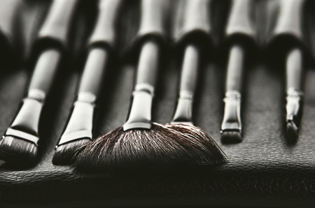 set of brushes for makeup in a black cover placed in a row, front view, horizontal format, monochrome image