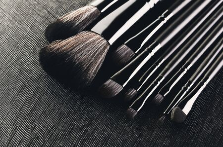 Makeup brushes set close-up on a textured black background diagonally. horizontal format, space for text
