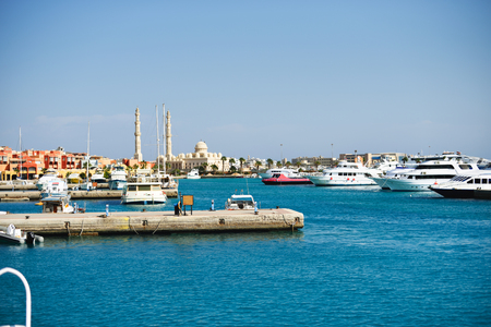 new marina bay view from the sea, egypt, hurghada Stock Photo