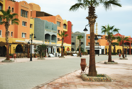 day on new marina promenade street , egypt, hurghada Stock Photo