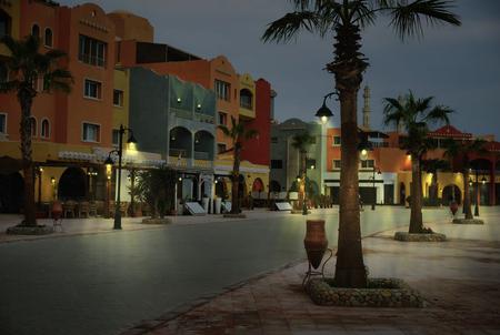 evening on new marina promenade street , egypt, hurghada