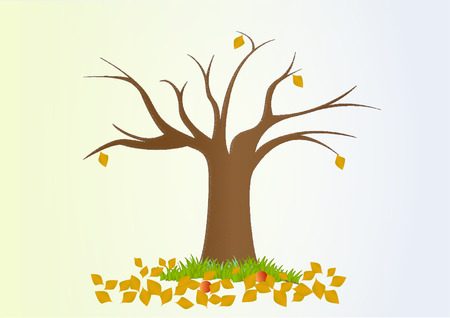 Lonely autumn tree with fallen yellow leaves. Illustration