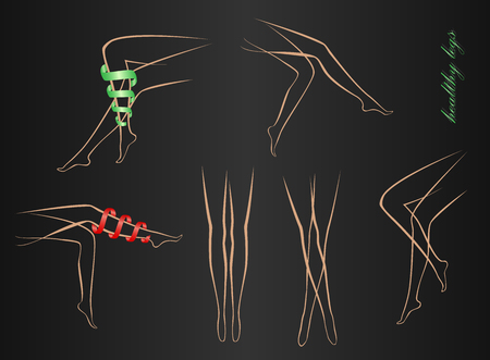 contours of healthy shapely female legs in various poses on a black background. Woman legs in different poses set. Elegant lying, standing, and sitting legs positions