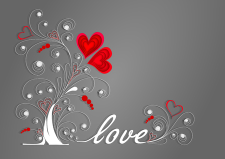 white love tree with curls and red hearts on a gray background
