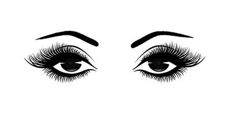 Gros plan des yeux de la belle femme, longs cils épais, illustration vectorielle noir et blanc, vue de face Banque d'images - 81365424
