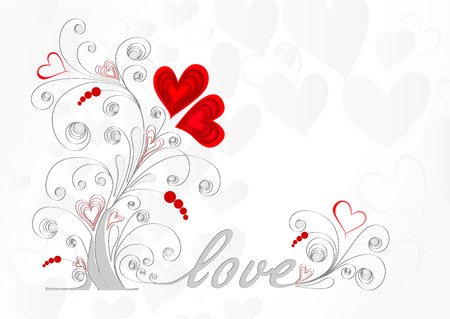 white love tree with curls and red hearts on a gray background Stock Vector - 81726496