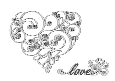 black calligraphic heart with shadow and love word on the white background horizontal Illustration