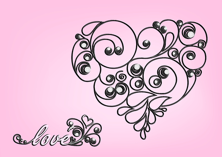 black calligraphic heart and love word on the pink background horizontal Illustration