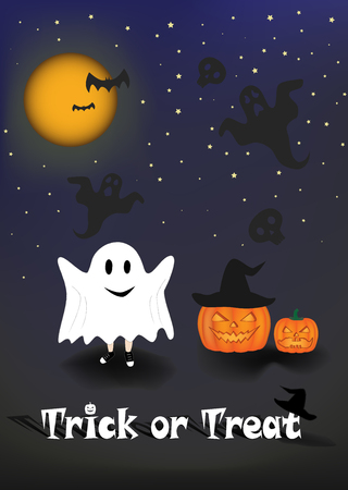 child in the costume of ghosts scare people against the background of the night sky. Trick or treat text