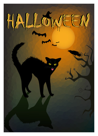 Halloween angry black cat on the dark night background, vertical