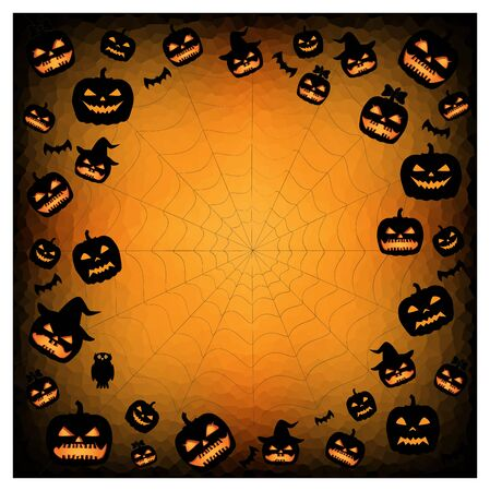 halloween pumpkins silhouettes on the orange black background, square Illustration