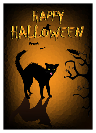 Halloween angry black cat on the dark orange background, vertical