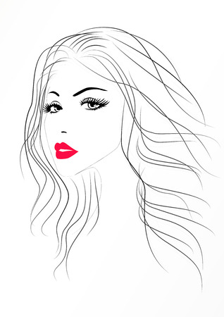 Beautiful woman portrait with a red sexy lips, vector illustration