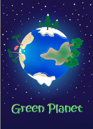 vector illustration trip around the world , green planet concept on the blue stars background vertical, text