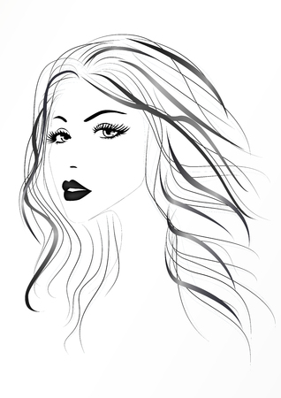 Beautiful womans face with long wavy hair, black and white vector illustration